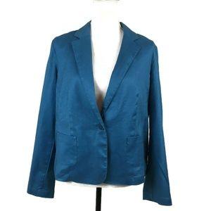 J. Jill Women Blazer Size Large Teal Linen Blend